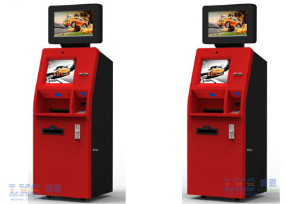 Customer Service Banking ATM Kiosk , Money Automatic Teller Machine Red Color